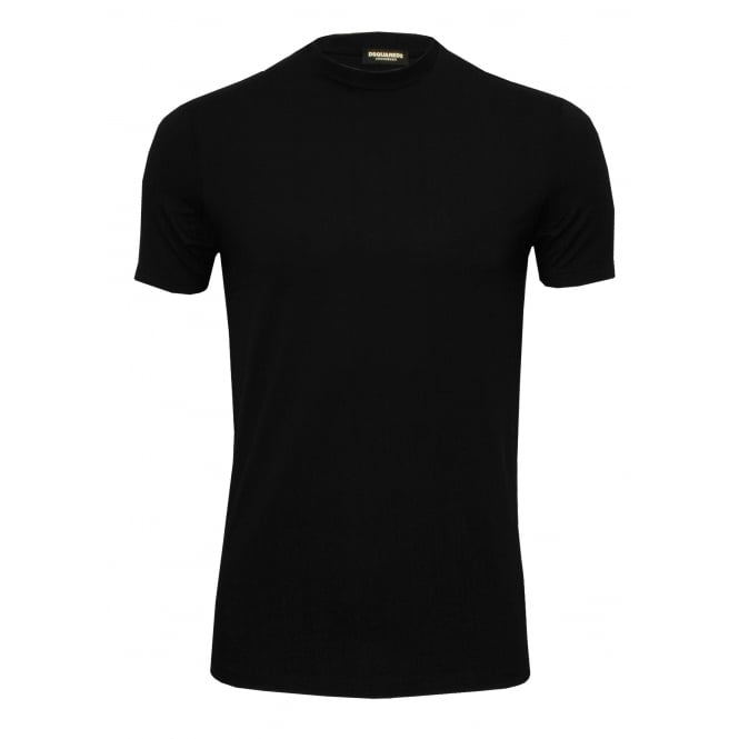 DSquared2 Placed Logo Crew-Neck T-Shirt in Stretch Modal, Black/orange