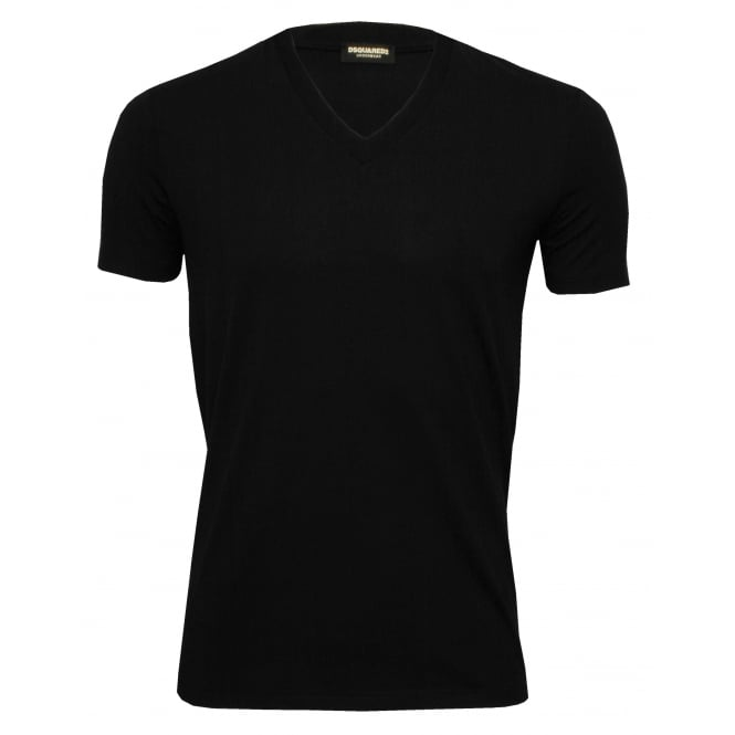 DSquared2 Placed Logo V-Neck T-Shirt in Stretch Modal, Black/fuschia