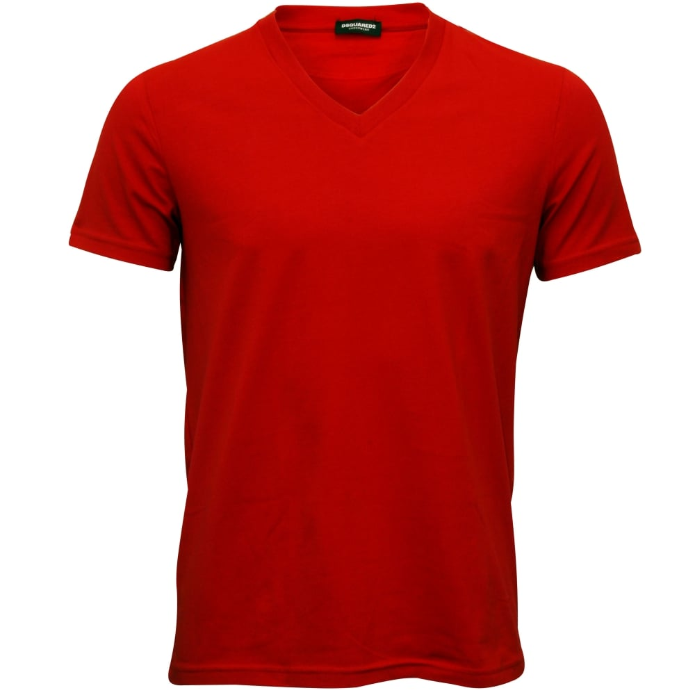 DSquared2 Placed Logo V-Neck T-Shirt Red  d4d299691130