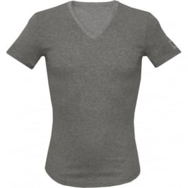 Ribbed Cotton Stretch V-Neck T-Shirt, Melange Grey