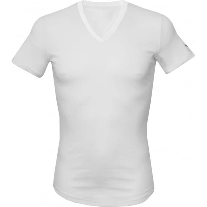 DSquared2 Ribbed Cotton Stretch V-Neck T-Shirt, White