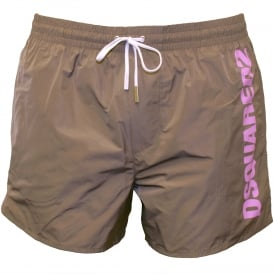 Sports Logo Swim Shorts, Taupe