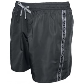 EA7 Logo Tape Premium Swim Shorts, Anthracite Grey with silver