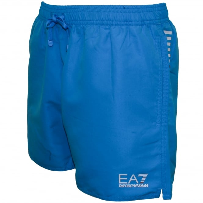 Emporio Armani EA7 Swim Shorts, Ocean Blue with white