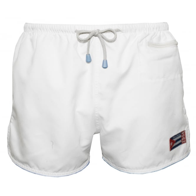 Oiler & Boiler East Hampton Retro Swimming Shorts, Crystal White