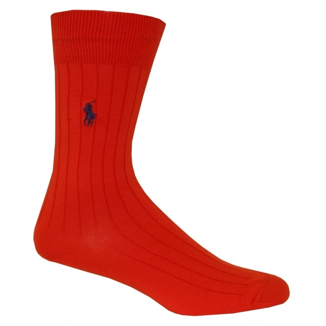 Polo Ralph Lauren Egyptian Cotton Ribbed Socks, Burnt Orange