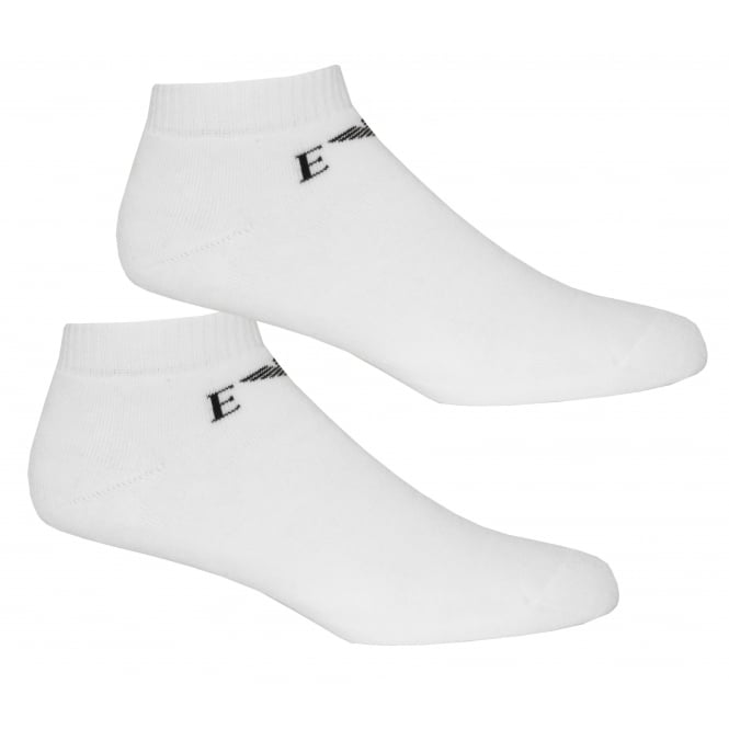 Emporio Armani 2-Pack Eagle Logo Sports Trainer Socks, White