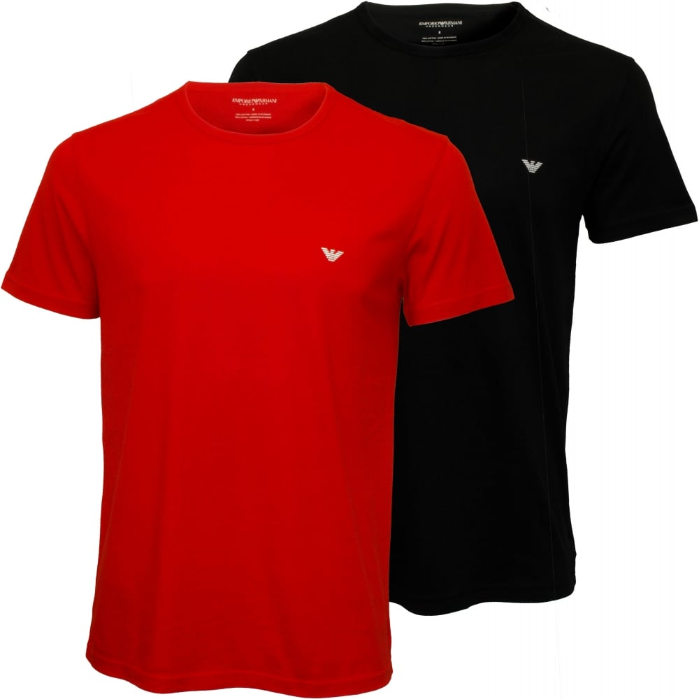 Black t shirt armani - 2 Pack Jersey Cotton T Shirts Navy Red