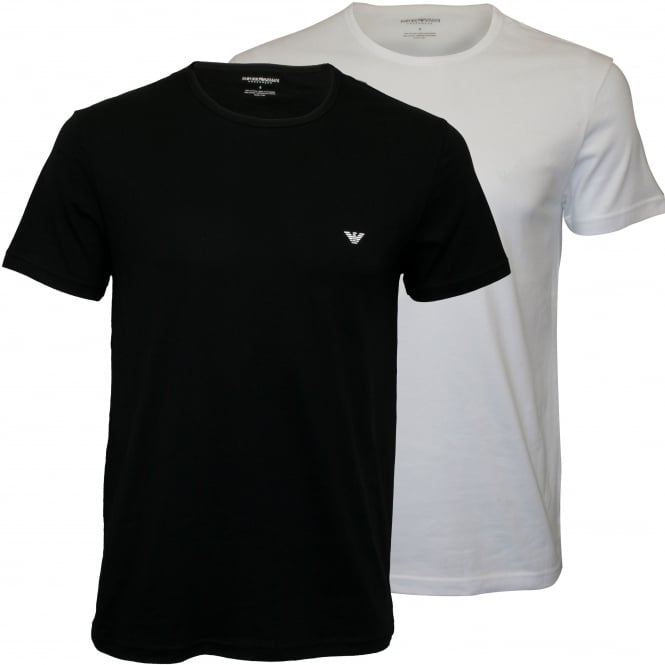 Emporio Armani 2-Pack Jersey Cotton T-Shirts, Navy/White