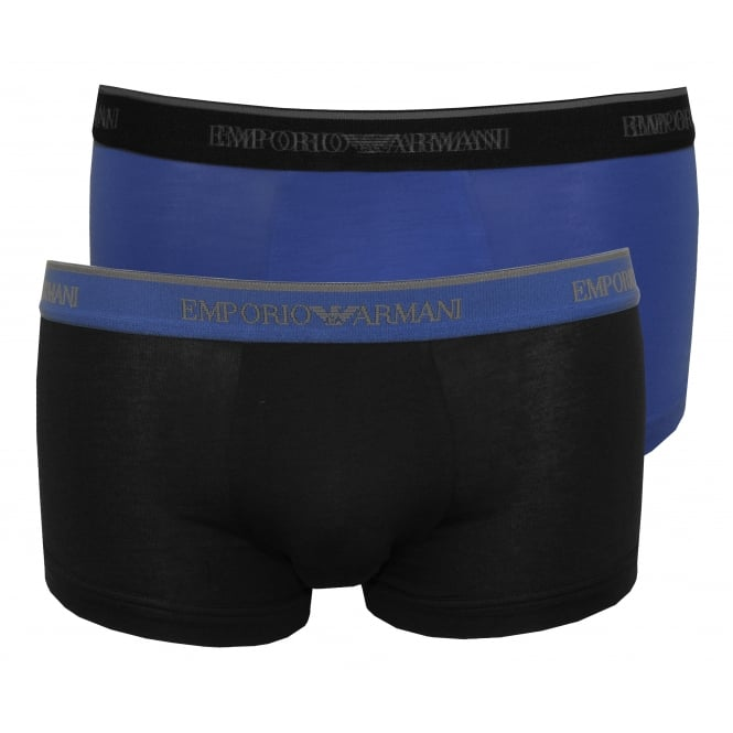Emporio Armani 2-Pack Lettering Logo Boxer Trunks, Blue/Navy with silver