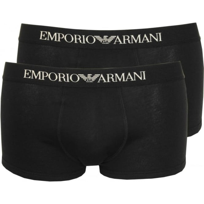 Emporio Armani 2-Pack Pure Cotton Boxer Trunks, Black