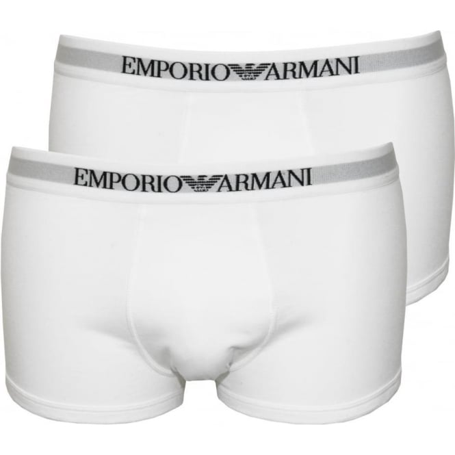 Emporio Armani 2-Pack Pure Cotton Boxer Trunks, White