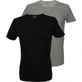 2-Pack Pure Cotton Crew-Neck T-Shirts, Black/Grey