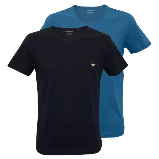 Emporio Armani 2-Pack Pure Cotton T-Shirts, Cobalt Blue / Marine Navy