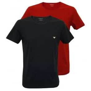 2-Pack Pure Cotton T-Shirts, Redcurrant Red / Marine Navy
