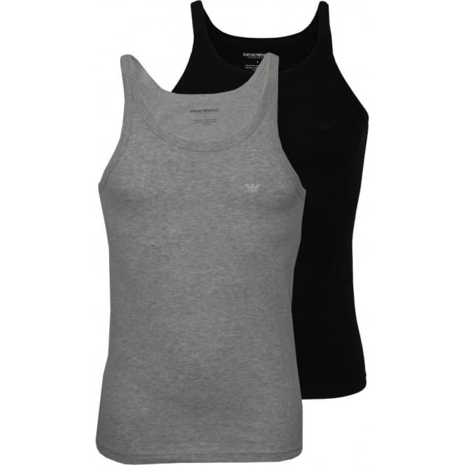 Emporio Armani 2-Pack Pure Cotton Tank Top Vests, Black/Grey