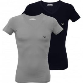 2-Pack Stretch Cotton V-Neck T-Shirts, Grey/Navy