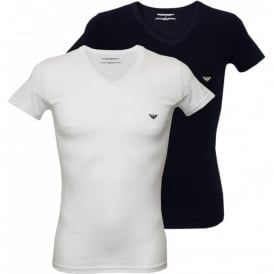 2-Pack Stretch Cotton V-Neck T-Shirts, White/Navy