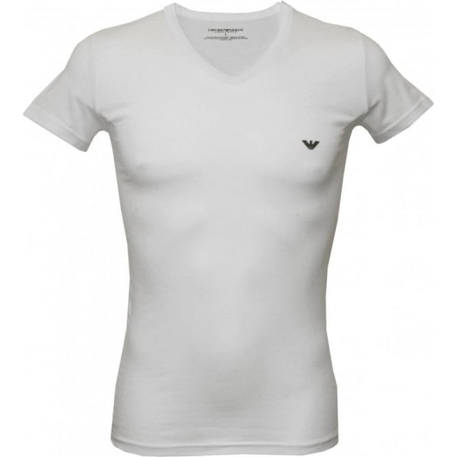39fbd9a1 2-Pack Stretch Cotton V-Neck T-Shirts, White/Navy