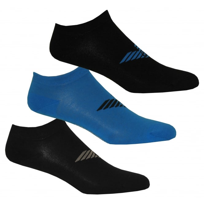 Emporio Armani 3-Pack Big Eagle Trainer Socks, Black/Blue/Navy
