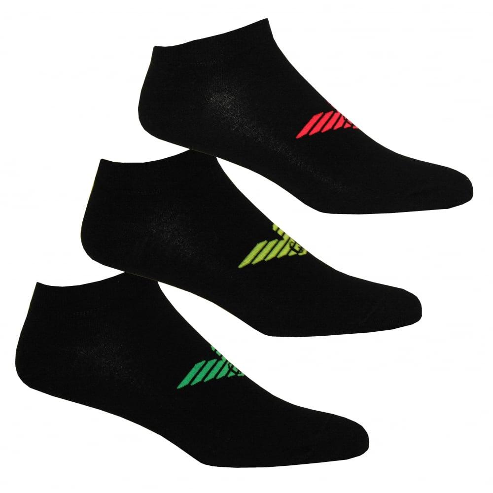 3-Pack Big Eagle Trainer Socks, Black with coloured logos