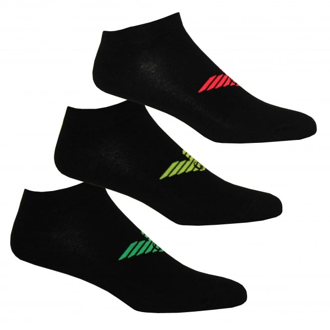 Emporio Armani 3-Pack Big Eagle Trainer Socks, Black with coloured logos