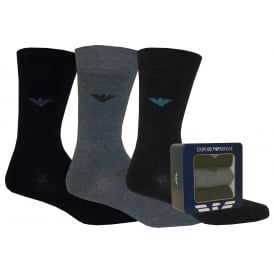3-Pack Eagle Logo Socks Gift Tin, Blue Combination