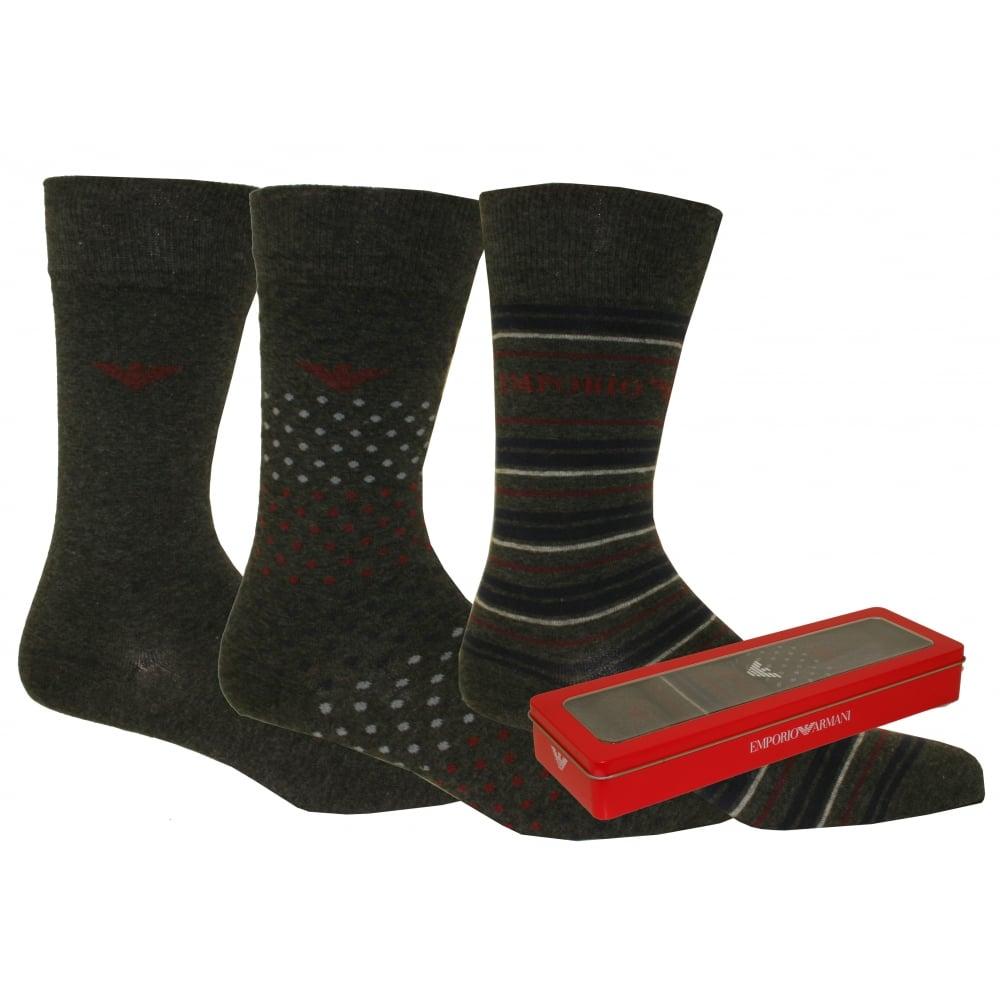 899d46cfae5 Emporio Armani 3-Pack Plain Stripes Spots Socks Gift Set