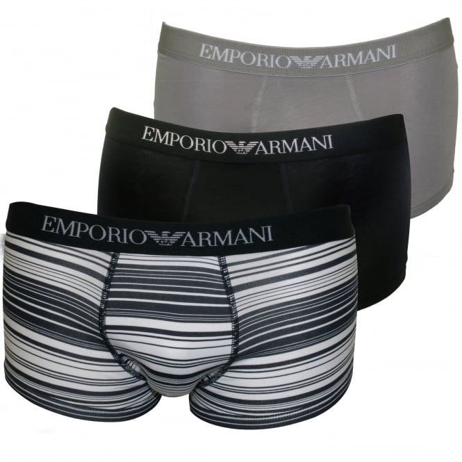 Emporio Armani 3-Pack Pure Cotton Stripe Boxer Trunks, Blue/Grey/Navy
