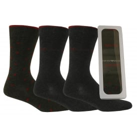 3-Pack Small Bordeaux Red Eagles Socks Gift Tin, Dark Grey Melange
