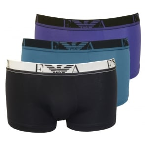 3-Pack Stretch Cotton Boxer Trunks, Assorted Blues