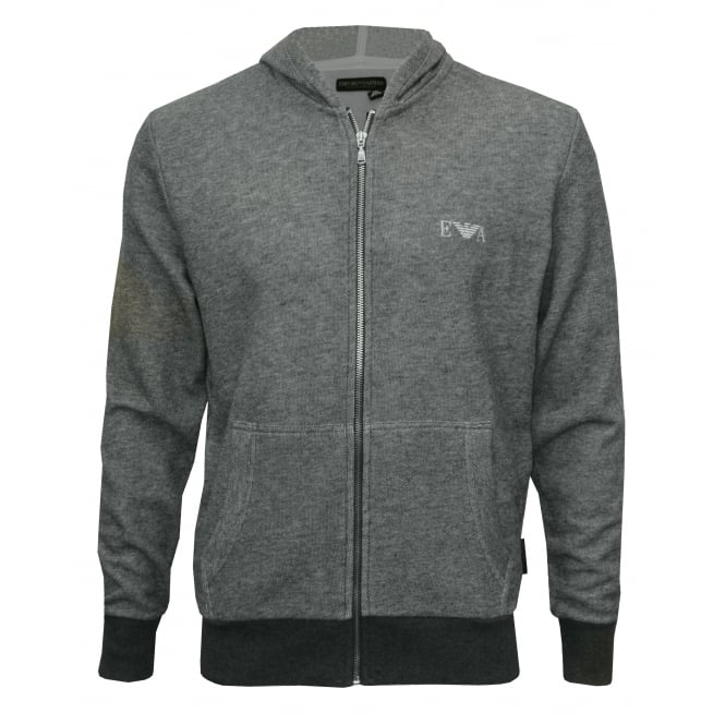 Emporio Armani Cotton Terry Luxe Lounge Tracksuit Hoodie, Grey Melange with silver logo