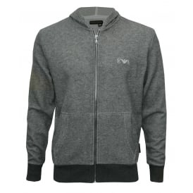 Cotton Terry Luxe Lounge Tracksuit Hoodie, Grey Melange with silver logo