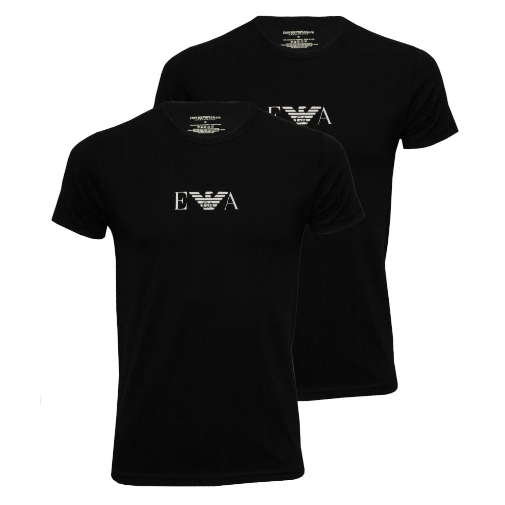 Black t shirt armani - Crew Neck Stretch Cotton Basic 2 Pack T Shirts Black