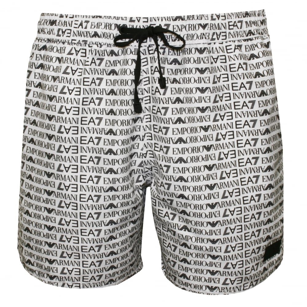 fe0cf6c0749 Emporio Armani EA7 Allover Logo Graphic Swim Shorts, White with ...