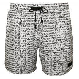 EA7 Allover Logo Graphic Swim Shorts, White with black