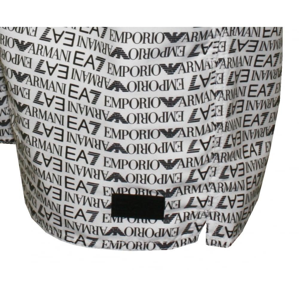 new product bc1eb 5c295 EA7 Allover Logo Graphic Swim Shorts, White with black
