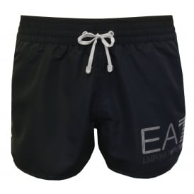 EA7 Athletic Trim Luxe Swim Shorts, Navy with white