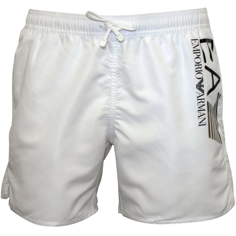 cb38abca95d Emporio Armani EA7 Athletic Trim Luxe Swim Shorts, White | UnderU
