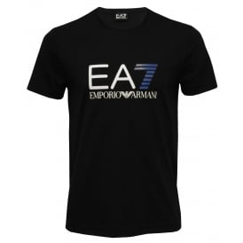 EA7 Big Logo Crew-Neck Beach T-Shirt, Black