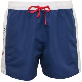 EA7 Block Colour Swim Shorts, Navy with white/red