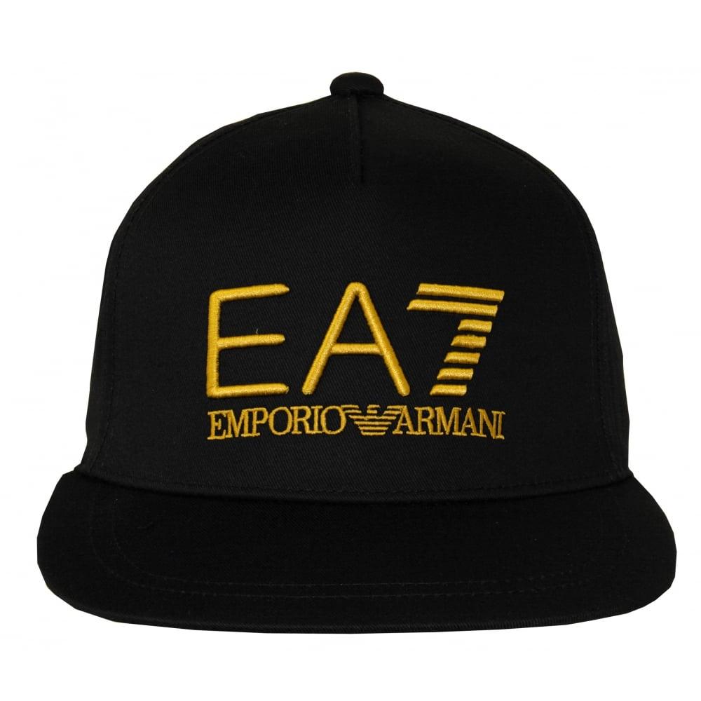 27225e02 Emporio Armani EA7 Large Logo Baseball Cap, Black/gold | UnderU