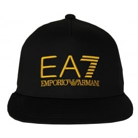 EA7 Large Logo Baseball Cap, Black/gold