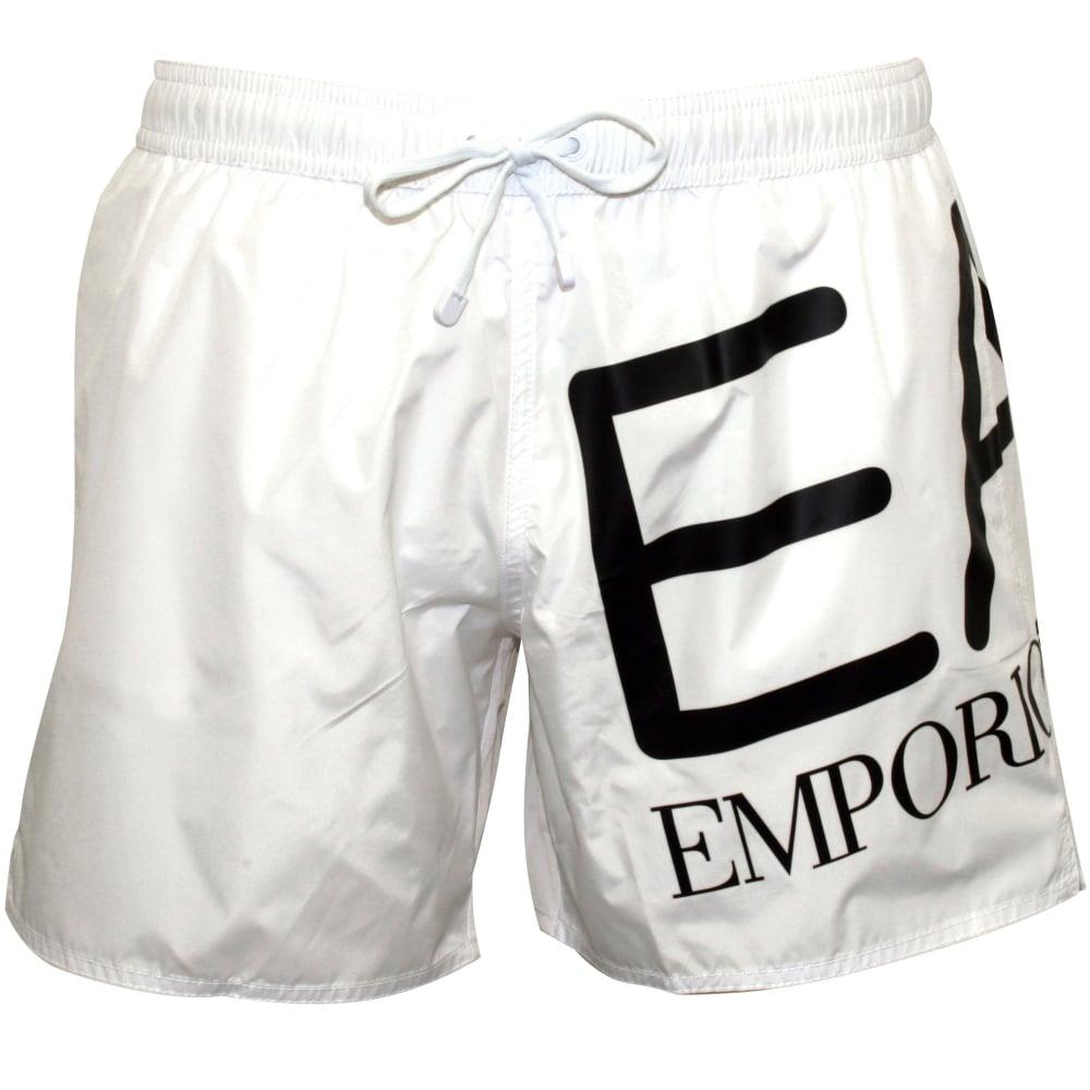 2afc8c7f39fcf Emporio Armani EA7 Large Logo Swim Shorts, White UnderU | UnderU