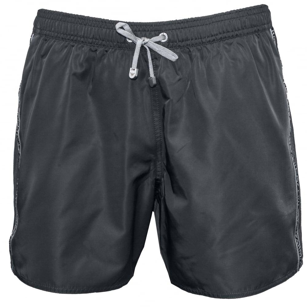 54608b69058 Emporio Armani EA7 Logo Tape Premium Swim Shorts, Grey   UnderU
