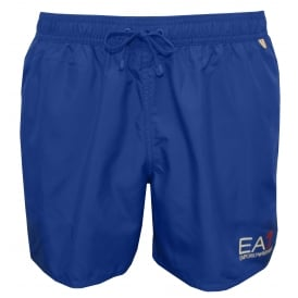 EA7 Luxe Swim Shorts, Royal Blue with white