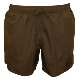 EA7 Luxe Swim Shorts, Stone Grey with black