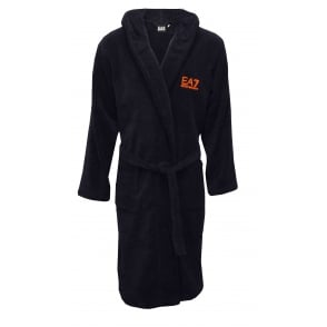 EA7 Luxe Towelling Bathrobe, Navy