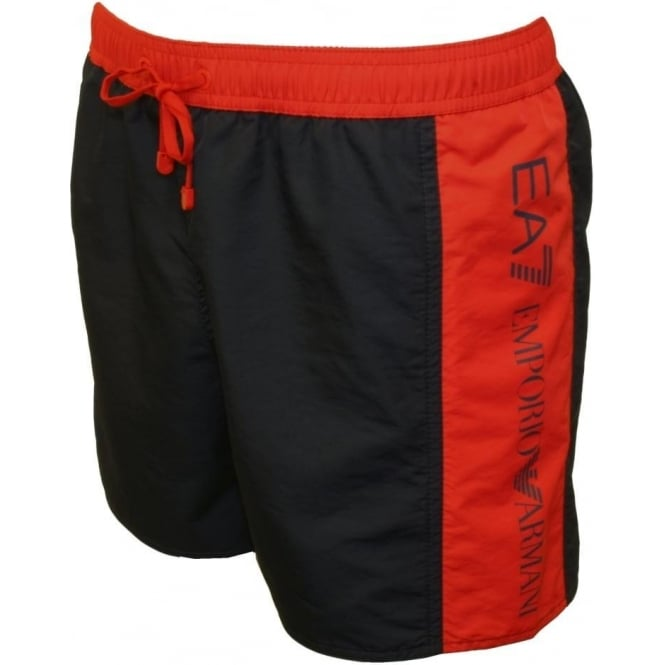 ad93f4cd6cb8c Emporio Armani Sea World BW Bicolour Boxer Swim Shorts, Navy/Red ...