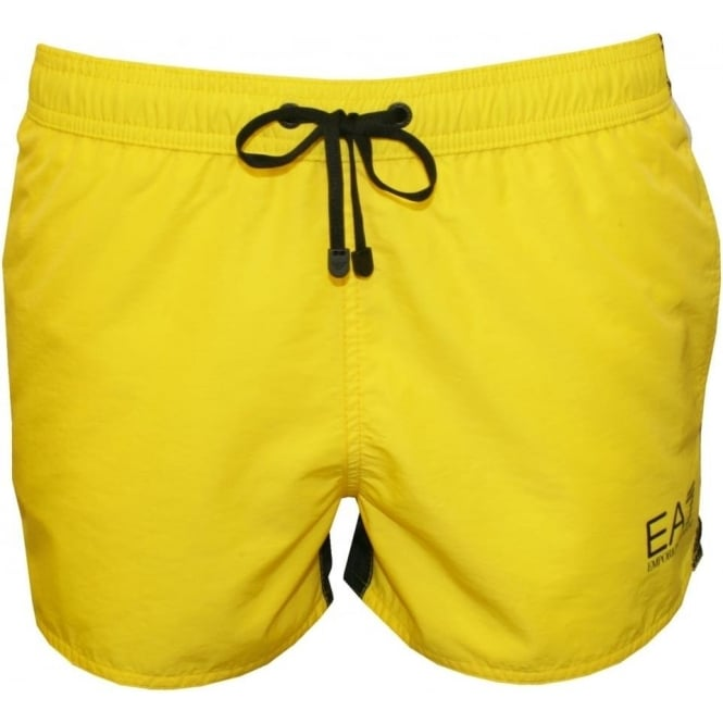 c3045e2f99f89 Emporio Armani Sea World BW Eagle Boxer Swim Shorts, Lemon/White ...